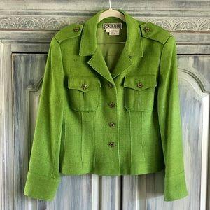 Carlisle Kiwi Green Woven Silk Blazer